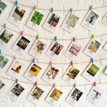 房间创意背景墙悬挂夹子麻绳挂饰照片墙装饰复古装饰明信片墙