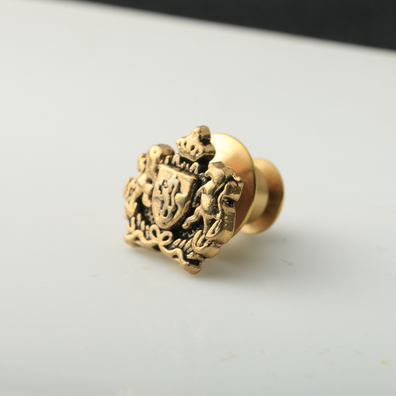 British European Court mens Royal double lion collar Brooch crown shield alliance family badge of honor