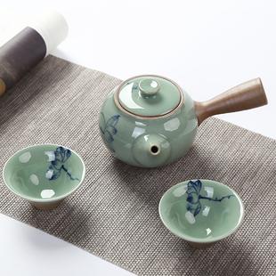 粗陶侧把壶套装一壶两杯日式小号茶壶陶瓷功夫茶具直火煮茶壶特价