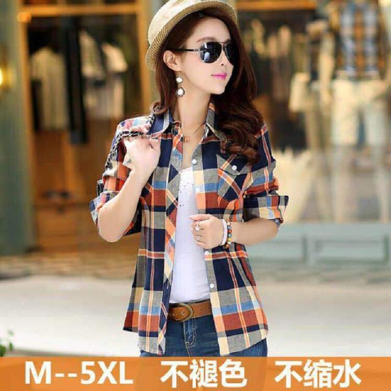 2020 new spring and autumn long sleeve cotton plaid shirt womens Korean slim womens cotton shirt full cotton large size top