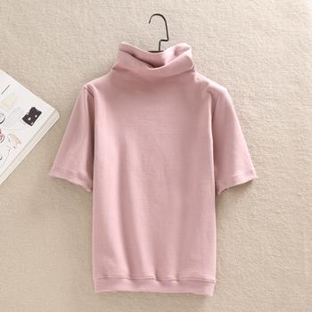 春秋短袖t恤女高领短款纯色小衫