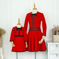 亲子装红色连衣裙女神红裙气质款显瘦大码母女时装女童裙不一样