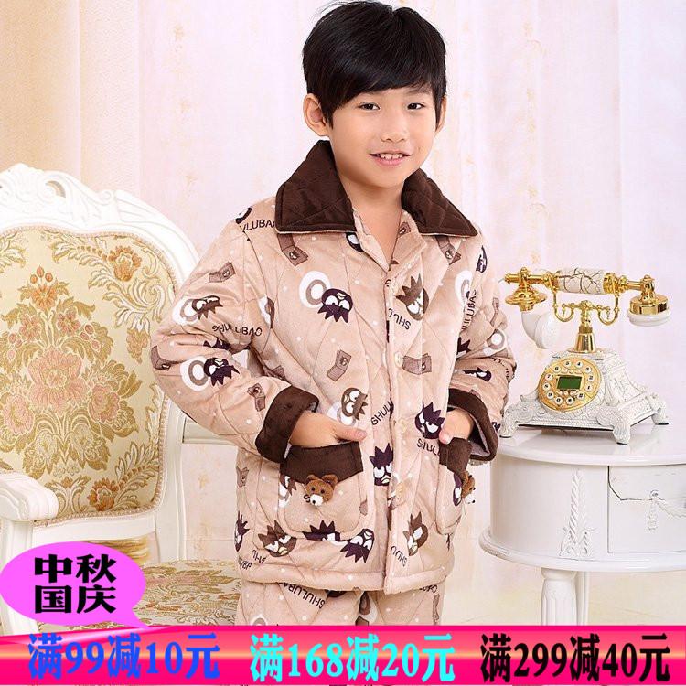 冬季舒露宝男童棉袄加厚夹棉法兰绒中大童儿童睡衣套装