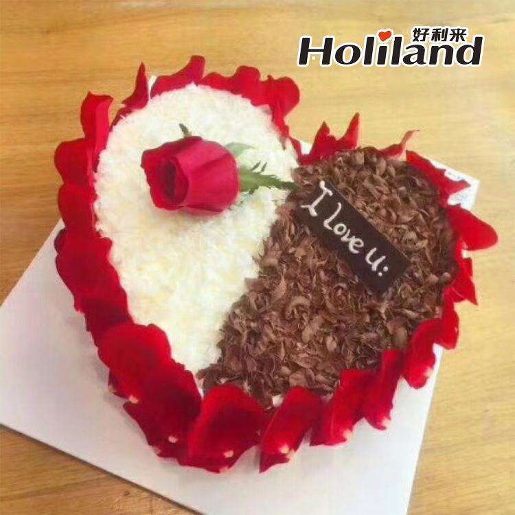 郑州好利来生日蛋糕同城送货玫瑰之爱情侣闺蜜女朋友情人节蛋糕