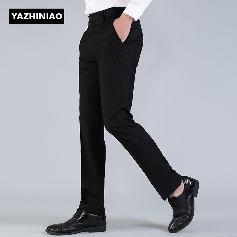Классический чёрный цвет усовершенствованная версия костюм костюм брюки корейский не требует глажения брюки мужской оккупация переход к работе бизнес повседневный брюки