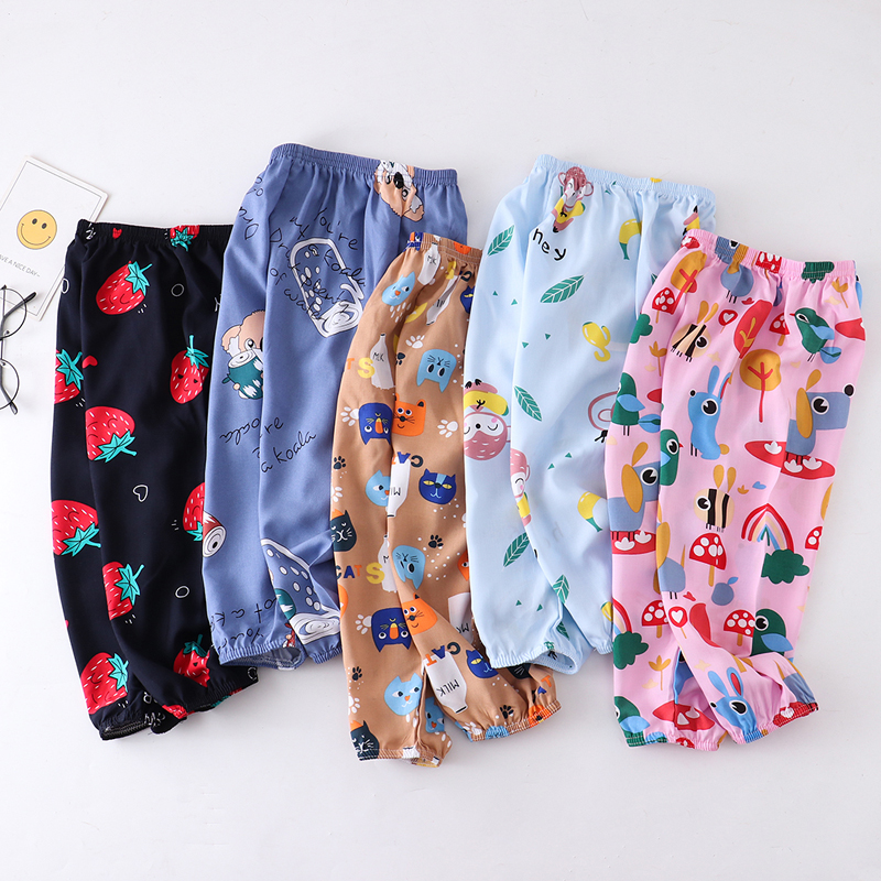 Summer clothes childrens wear childrens pants cotton boys thin anti mosquito Pants Girls bloomers baby slacks beach pants