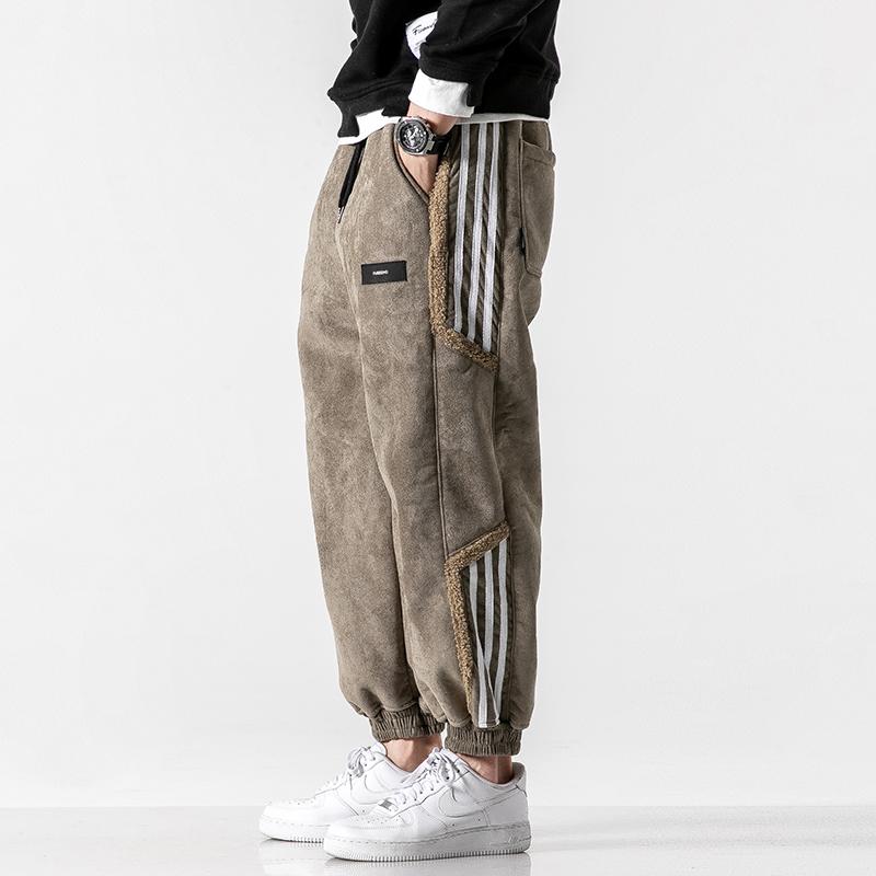 裤子男冬季加绒休闲长裤宽松羊羔绒束脚工装裤男运动裤加厚哈伦裤