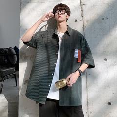 M-5XL 半袖衬衫男士纯棉大码宽松港风学生条纹短袖衬衣 DC202-P35