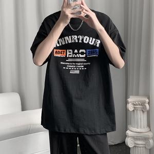 M-5XL 纯棉短袖T恤男夏季新款上衣潮流宽松圆领t恤 T1802-P25控36,男装T恤,电商基地A047