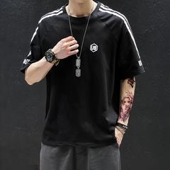 A047-T1909-P40短袖t恤男纯棉圆领2019夏装新款大码半袖潮条纹