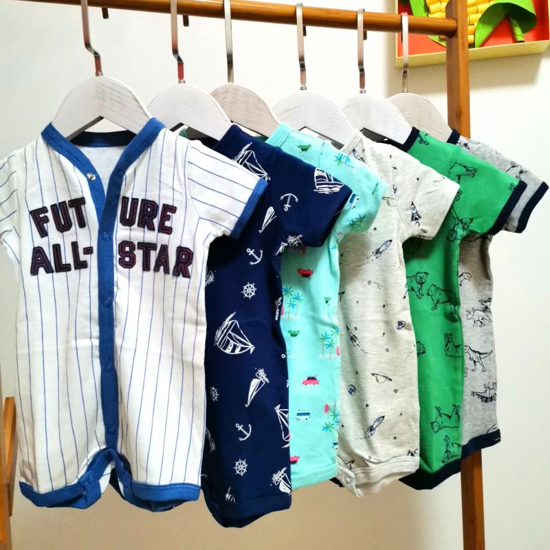 0-2岁新生儿纯棉爬服连体衣婴儿短袖平角哈衣男宝夏季连身衣短爬
