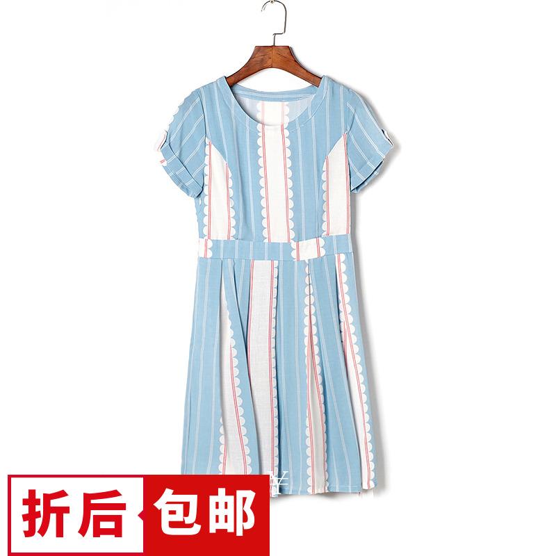 【6折包邮】QB系列杭派女装品牌剪标折扣店尾货夏时髦百褶连衣裙