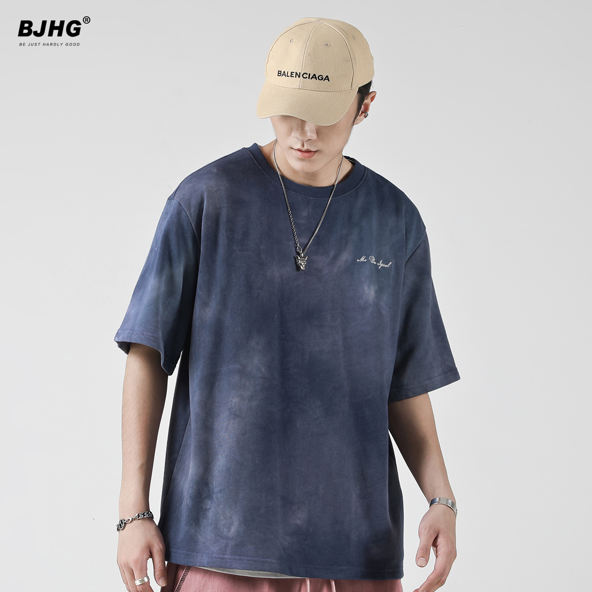 BJHG不计后果 夏半袖T恤男潮牌复古做旧磨白宽松刺绣圆领短袖丅恤
