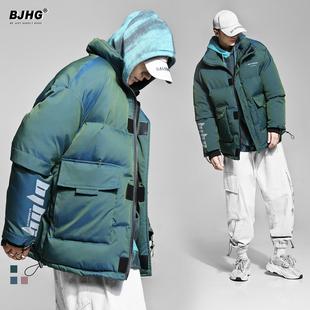 BJHG自制冬季 渐变棉服男国潮亮面反光羽绒棉袄外套情侣面包服棉衣