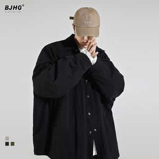 BJHG春2021工装 衬衫 男潮牌OVERSIZE原宿宽松复古痞帅日系衬衣外套
