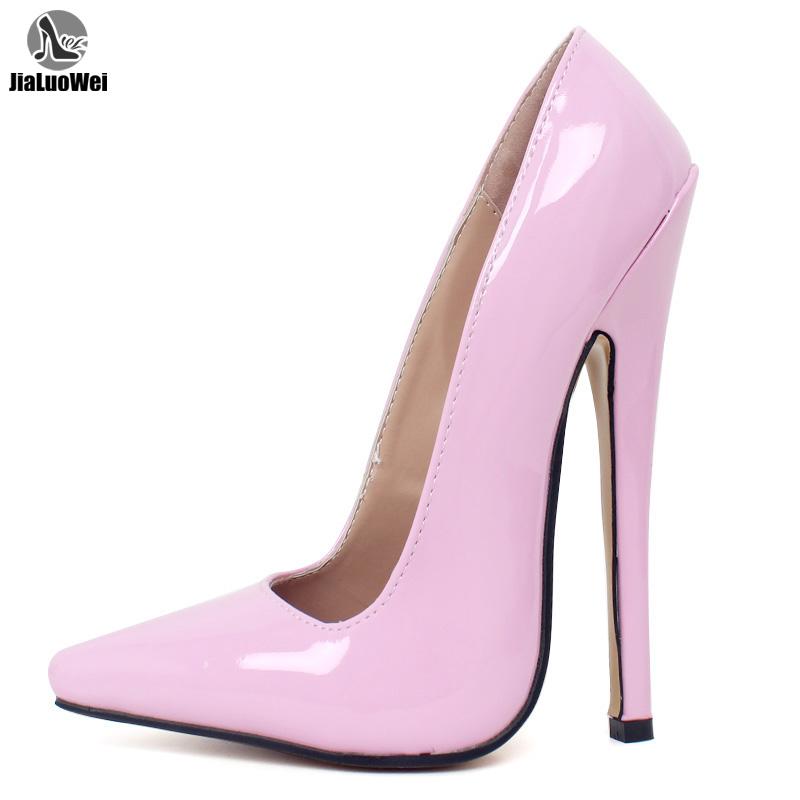 36-46码尖头18厘米细高跟漆皮丝袜SM高跟鞋变CD装伪娘大码女王鞋
