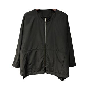 2020秋裝 韓國TH新款純色前拉鍊寬鬆韓範中袖薄款風衣短外套女