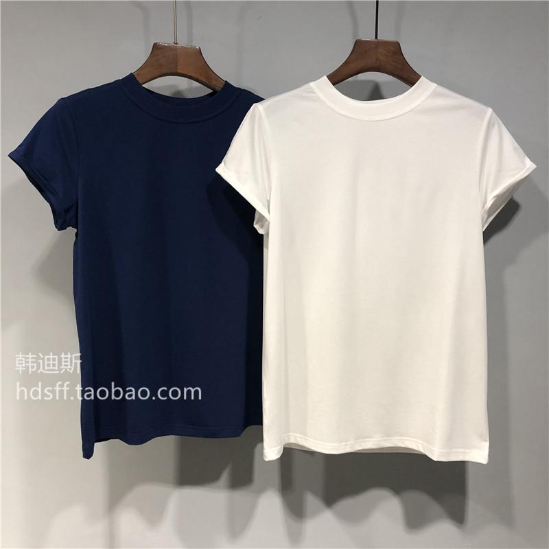 2019春夏mocha新款纯色简单百搭显瘦袖子挽边圆领短袖净版T恤女