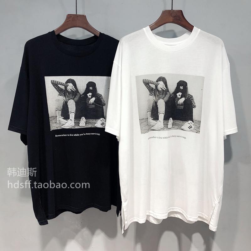 2020夏装韩国ulzzang新款人物图案宽松中长款薄款慵懒短袖T恤女潮图片