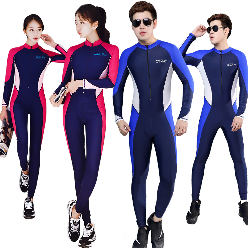 Couple diving suit men and women one-piece sunscreen long sleeve hot spring swimming suit jellyfish suit professional snorkeling suit quick dry surfing