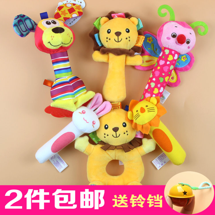 婴儿手摇铃BB棒 宝宝布摇铃多功能抓握益智毛绒玩具0-3-6-12个月