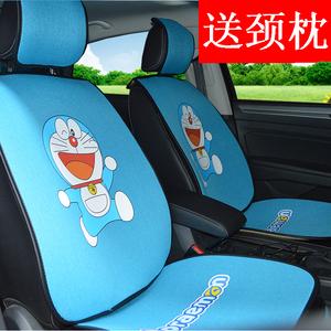 可爱时尚亚麻汽车坐垫四季通用哆啦A梦网红女神卡通潮牌汽车座垫