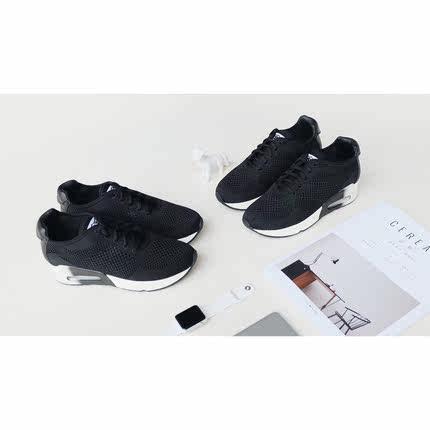 矮子乐气垫运动鞋休闲女鞋增高网面轻便透气系带小码女鞋