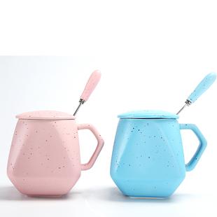 陶瓷杯子带盖勺创意情侣家用马克杯