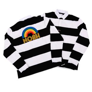 T恤男潮牌美式 NOAH彩虹刺绣黑白条纹长袖 复古POLO衫 宽松情侣纯棉