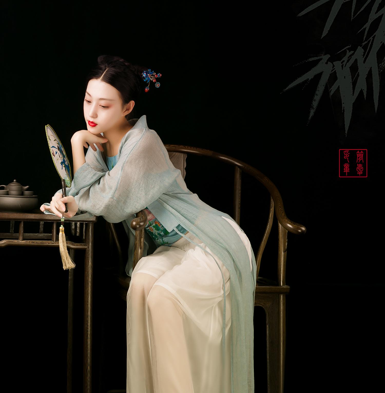 十里荷塘丨中式麻纱汉元素服长披肩开衫披风褙子丨简爱原创设计