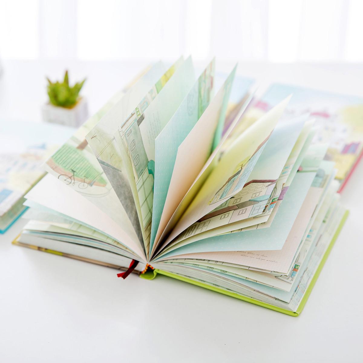 韩国创意文具精美笔记本小清新本子彩页插画日记本可爱手绘记事本