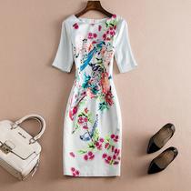 出口欧美精品大码女装裙子印花修身气质春季连衣裙显瘦中长款包臀