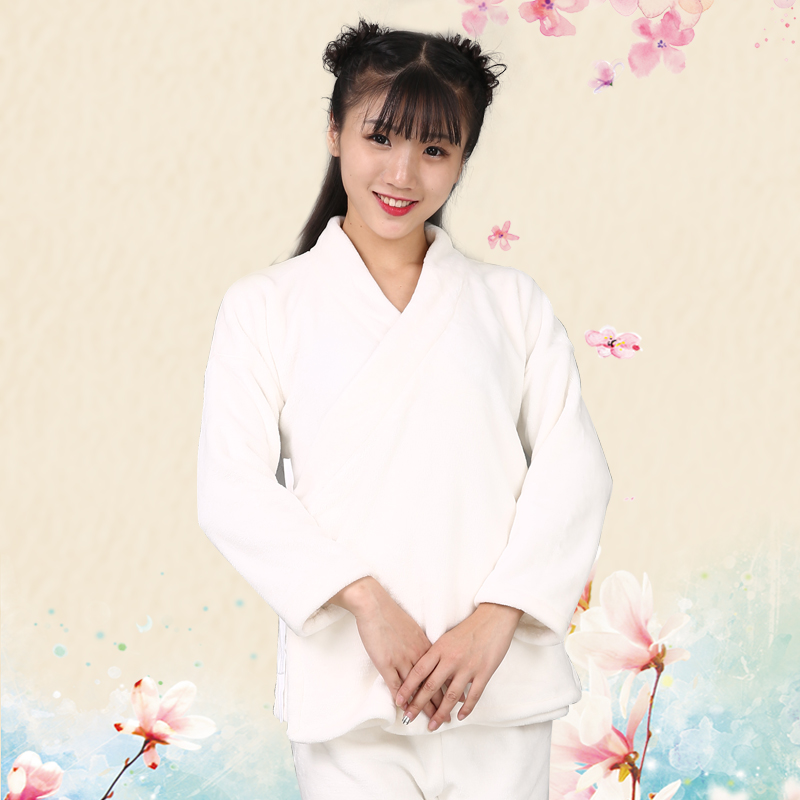 Hanfu pajamas womens winter flannel ancient clothes middle clothes and trousers Hantang improved version thickened coral velvet home suit