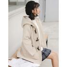 牛角扣大衣女森系小清新加厚中长款小个子日系学生连帽毛呢子外套
