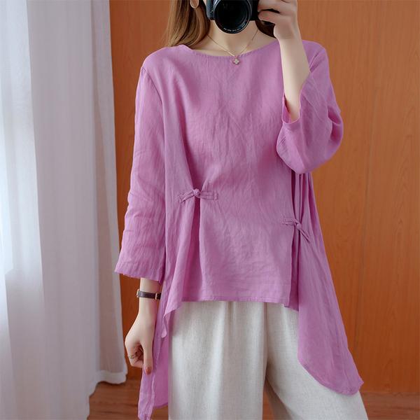 TS34800#秋款女装纯色棉麻盘扣长袖衬衫宽松小燕尾服百搭减龄气质上衣