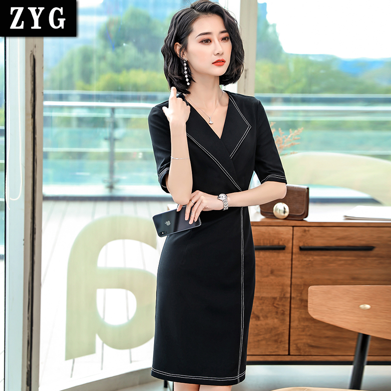 Color contrast medium sleeve professional dress work clothes summer 2019 new large real estate consultant sales frock skirt