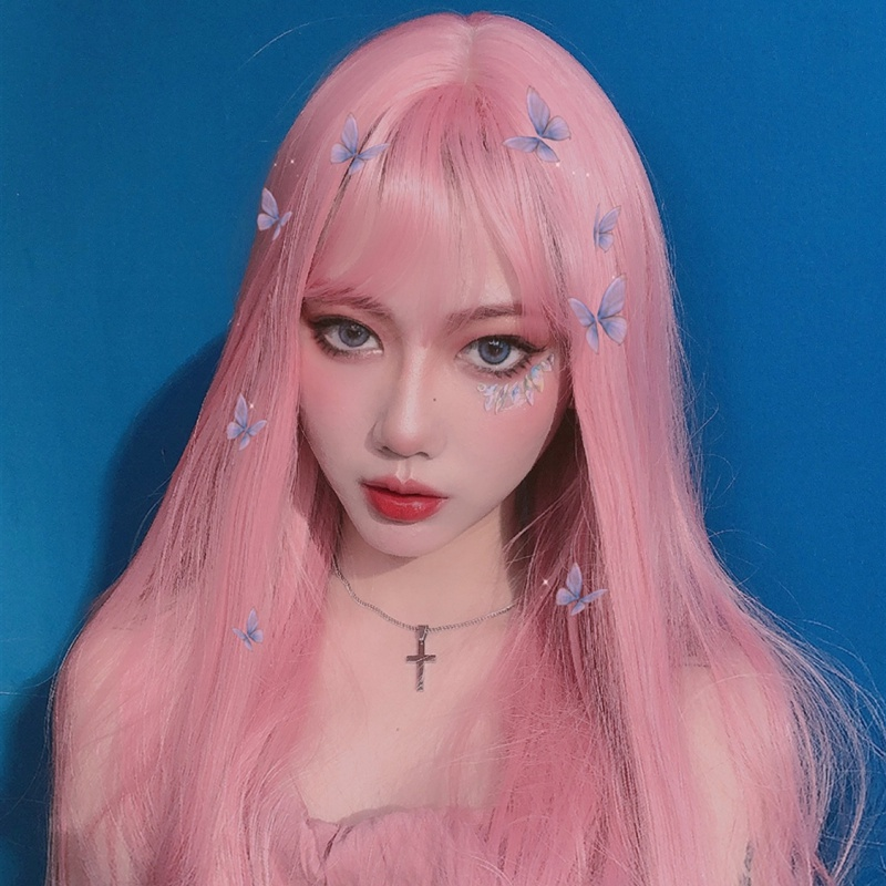 Wig women's long straight hair invisible traceless Lolita pink waist long hair supernatural lifelike full head straight hair