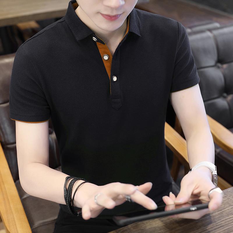 纯色工作日常休闲polo衫短袖T恤男夏季薄款翻领上衣青年潮1536P25