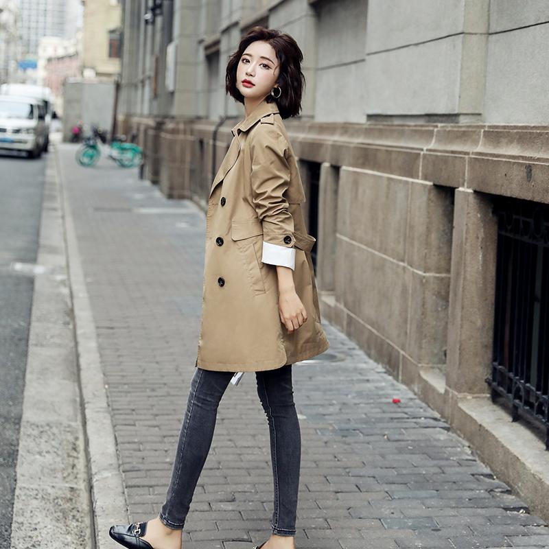 流行双排扣短款风衣外套女装2020年秋装新款小个子宽松英伦风上衣