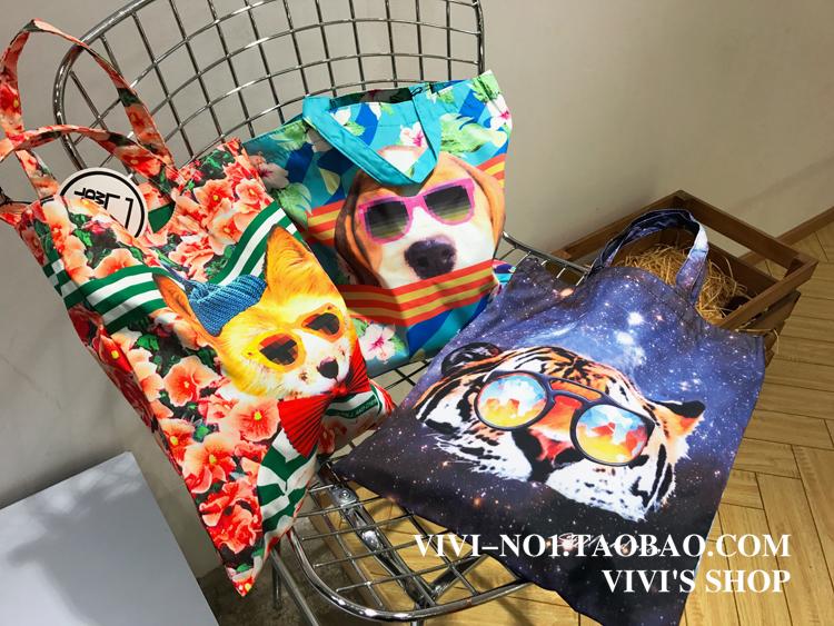 特!韩国创意时尚动物防水布袋子/环保购物袋/单间手提斜跨包包