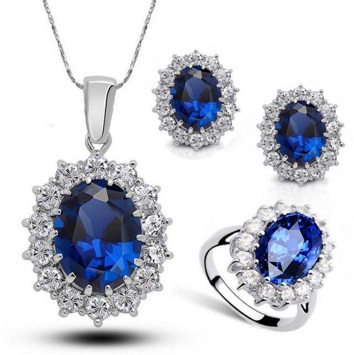 电镀S925银红宝石王妃耳钉女气质耳环项链戒指首饰品三件套装流行