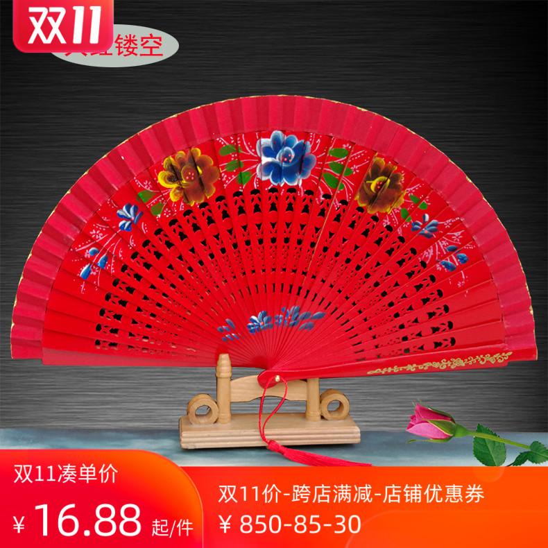 红色跳舞双面图案西班牙木扇舞蹈扇