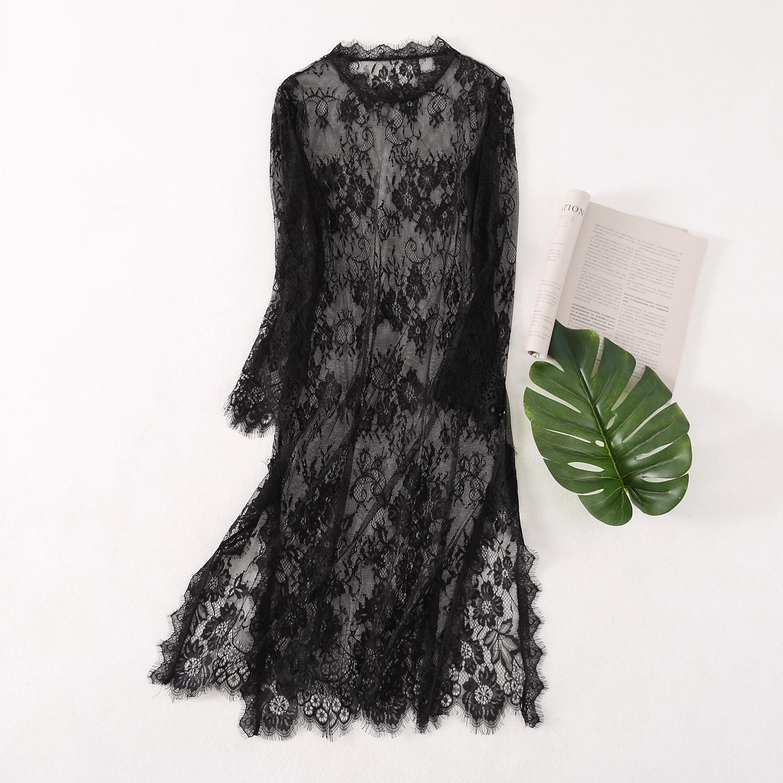 蕾丝连衣裙女长袖显瘦洋气百搭中长款圆领镂空过膝开衩网纱裙限4000张券