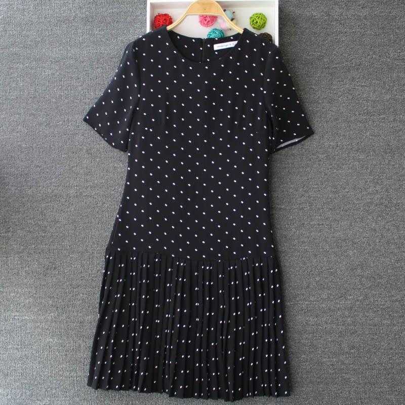 出口英国单夏季女装波点短袖连衣裙(非品牌)