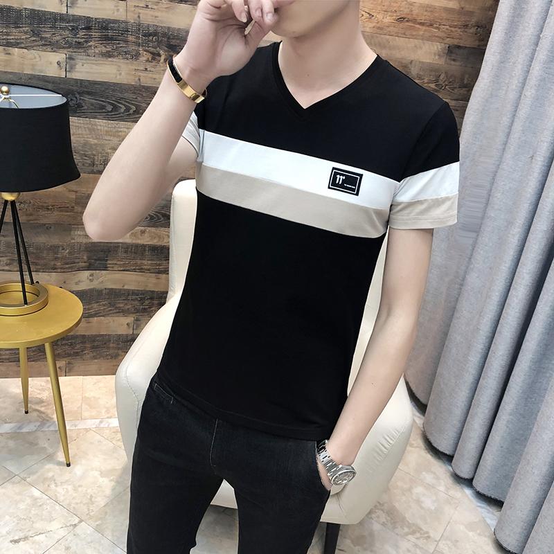 夏季短袖T恤男圆领套头学生外贸条纹商务卫衣男拼接黑色762P22