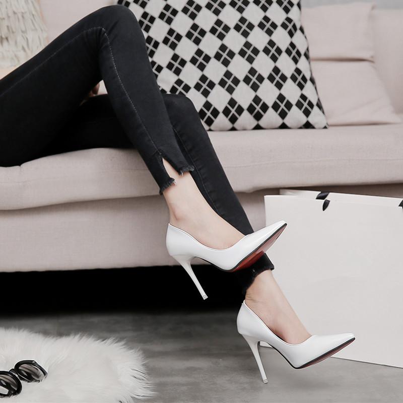 高跟鞋女细跟尖头气质性感百搭少女学生白色网红单鞋2019新款夏季