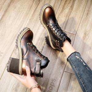 高跟马丁靴女英伦风2021秋冬季新款复古粗跟短靴加绒系带厚底女鞋