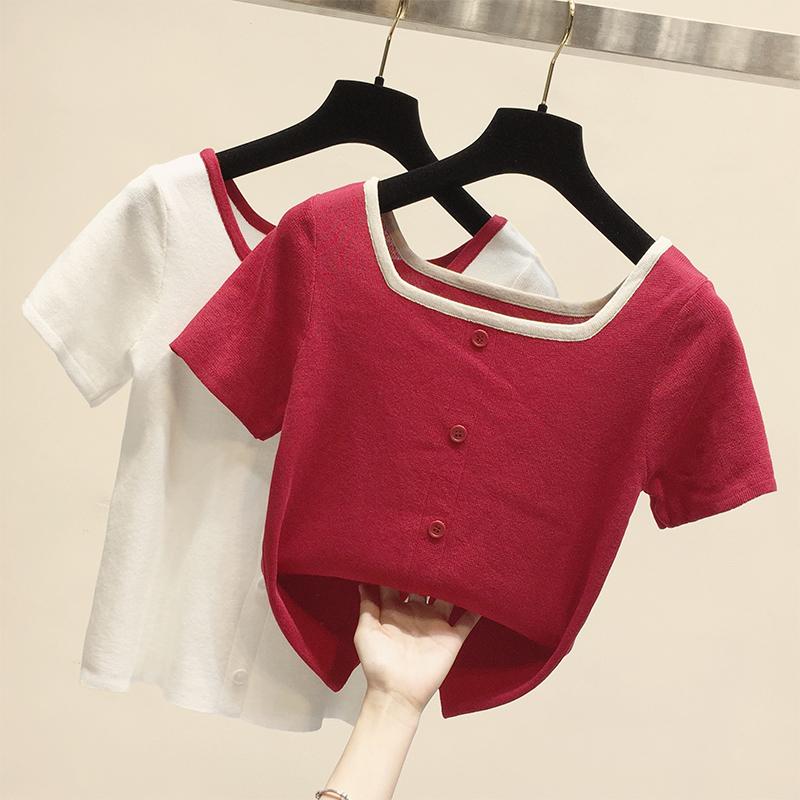 针织短袖夏季纯色修身百搭打底衫11月02日最新优惠