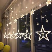 Звезда свет фонарь вспышка строка свет в небе звезда спальня комната ткань положить декоративный свет занавес вешать свет романтический небольшой свежий