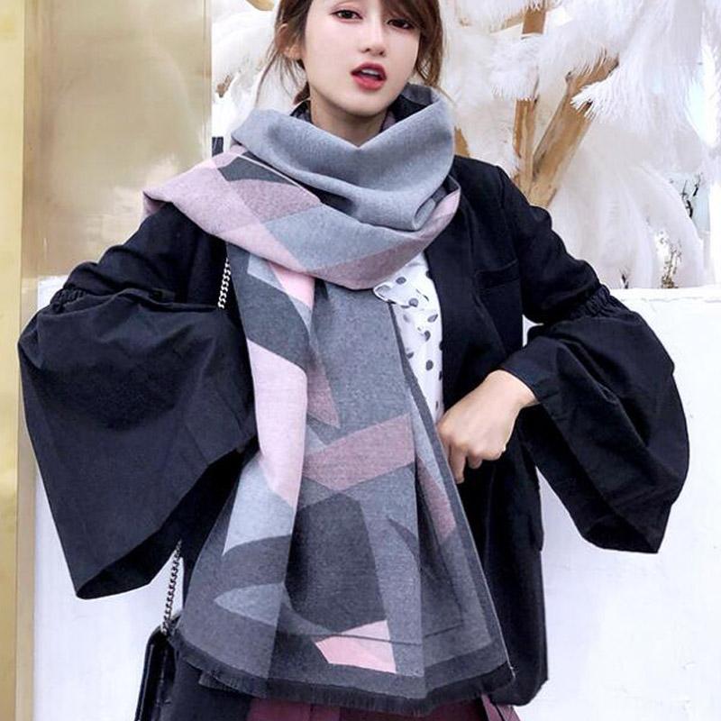 秋冬新款围巾女几何图形加厚保暖仿羊绒围巾百搭韩版格子披肩灰色